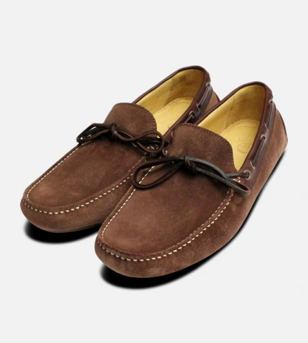 Tobacco Suede Brown Laced Driving Shoes