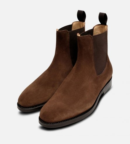Brown Suede Goodyear Welted Wholecut Chelsea Boot