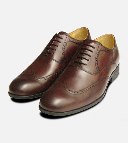 Steptronic Formal Brown Wingcap Oxford Mens Lace Up Shoes