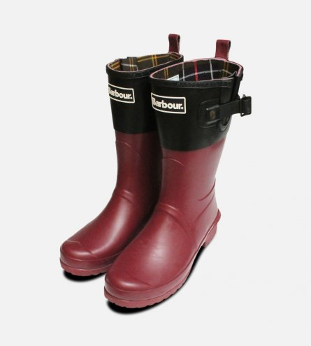 Burgundy & Black Short Waterproof Barbour Wellies