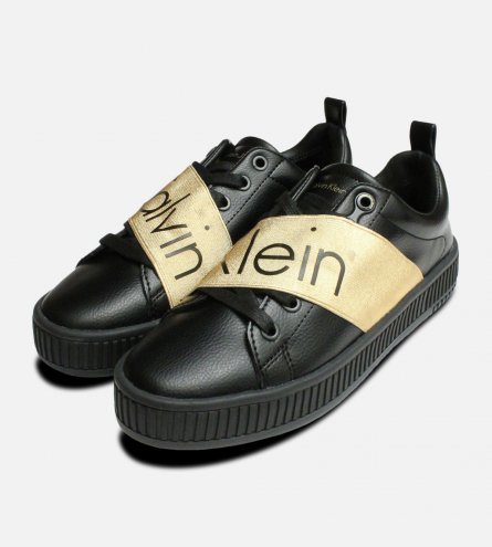 Exclusive Gold & Black Calvin Klein Antonia Shoes