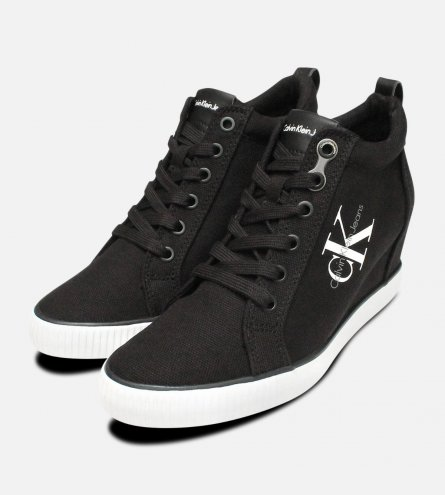 Black Canvas Ritzy Heel Sneakers by Calvin Klein