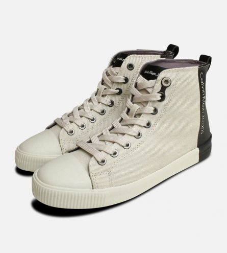 Designer Calvin Klein Ladies Denice Hi Tops in Beige & Black