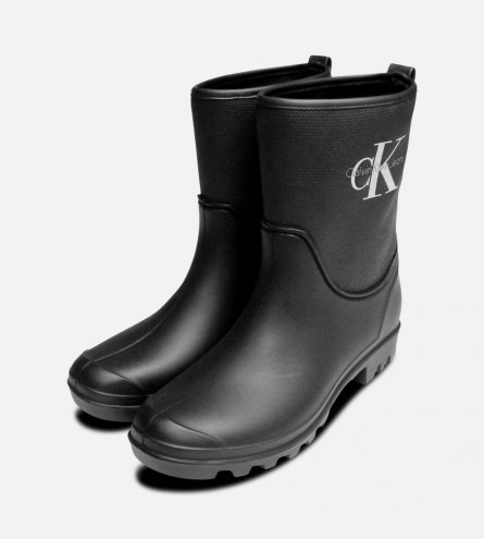 Calvin Klein Black Philippa Rubber Wellington Boots