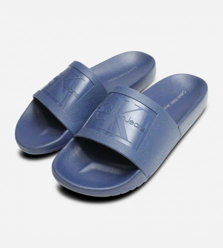 Vincenzo Steel Blue Jelly Calvin Klein Mens Slides