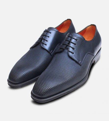 Metallic Navy Blue Chainmail Designer Italian Shoes