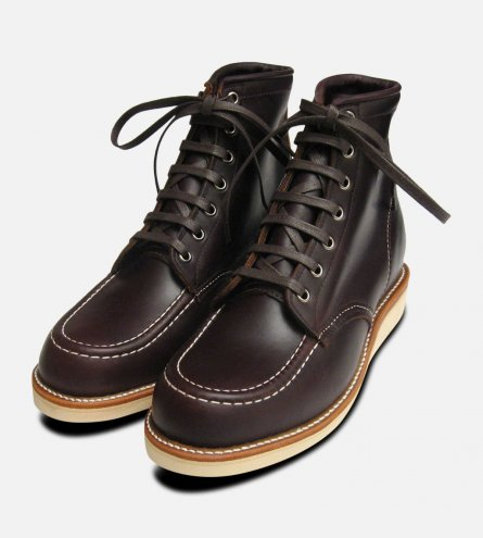 Chippewa Shoes Cordovan Leather Dark Burgundy 1901M20 Vibram Sole Moc Toe Boots