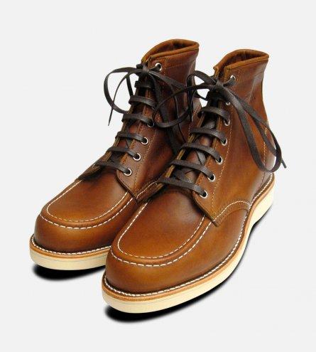 Chippewa Shoes Tan Renegade Leather 1901M22 Vibram Sole Moc Toe Boots