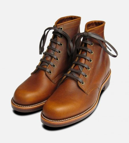 Chippewa Tan Renegade Leather Lace Up Boots Vibram Sole