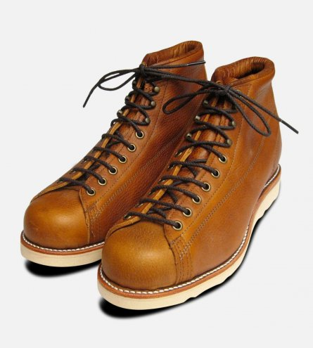 Chippewa Mens Copper Tan Goodyear Welted Lace To Toe Monkey Boots