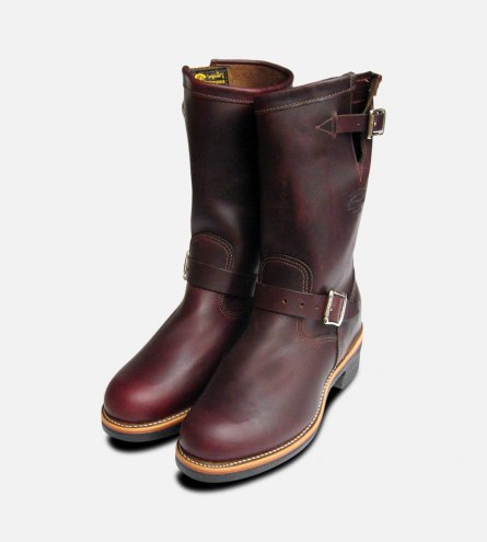 Chippewa 11 inch Cordovan Leather American Hide Engineer Boots in Burgundy