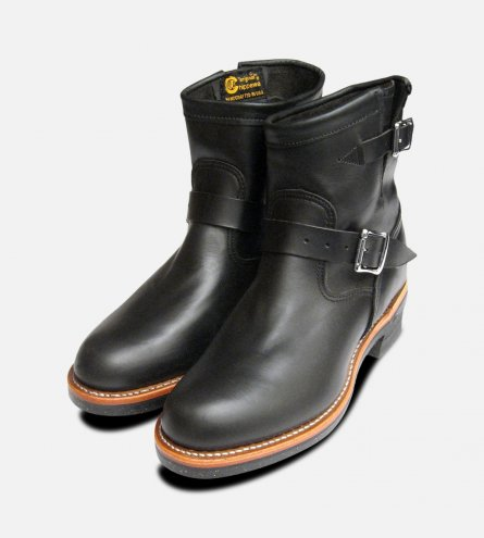 Chippewa Mens Black American Hide Logger Boots with Vibram Sole