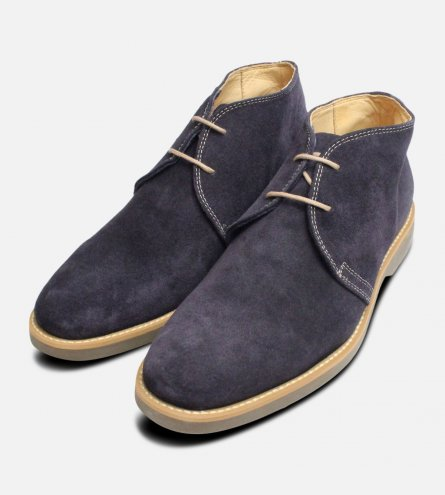 Navy Blue Suede Lace Up Boots by Anatomic Co Shoes