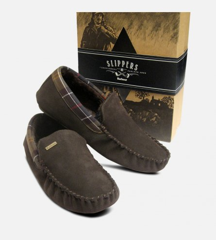 Barbour Mens Dark Brown Suede Monty Fur Slippers