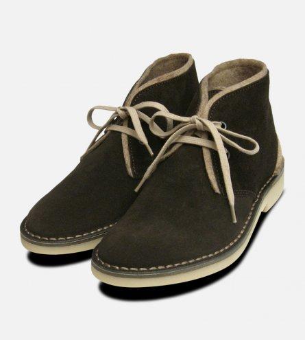 Dark Brown Suede Desert Boots with Beige Felt Trim
