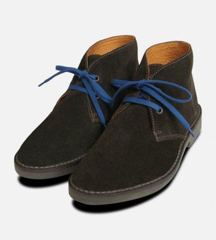 Ladies Dark Brown Suede Italian Desert Boots