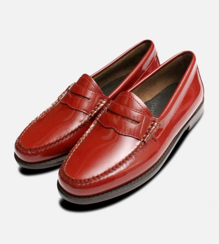Cardinal Red Patent Bass Loafer Ladies Shoes
