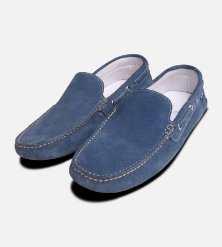 Blue Denim Jeans Suede Shoes by Arthur Knight