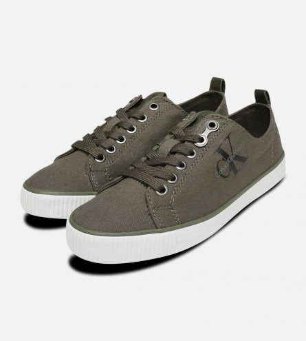 Khaki Green Canvas Dora Trainers by Calvin Klein