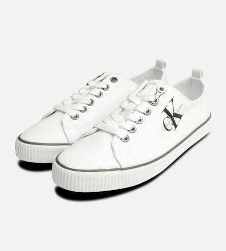 Calvin Klein White Canvas Dora Trainers for Women