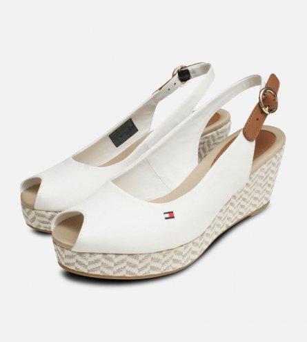 Tommy Hilfiger Womens Elba White Wedge Sandals