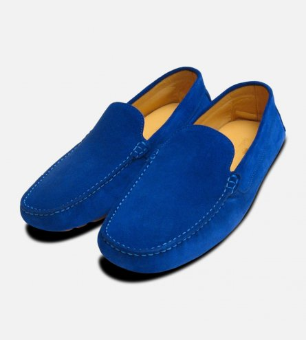 Electric Blue Suede Mens Driving Shoes