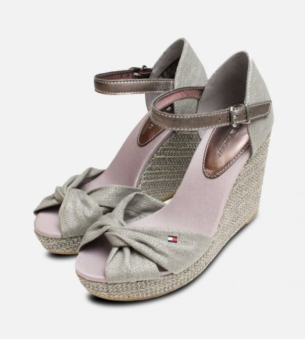 Metallic Light Grey Tommy Hilfiger Elena Platform Sandal