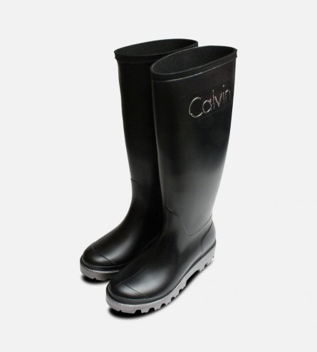 Black & Silver Calvin Klein Eliza Wellington Boots