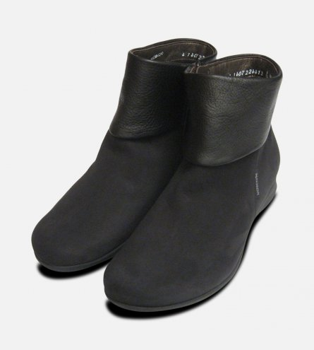 Mephisto Ladies Fiducia Black Nubuck Zip Boots