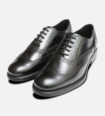 Black Oxford Rubber Sole Brogues Made in Italy