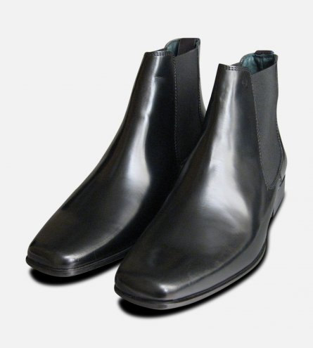 Black Polished Mens Exceed Chelsea Boots