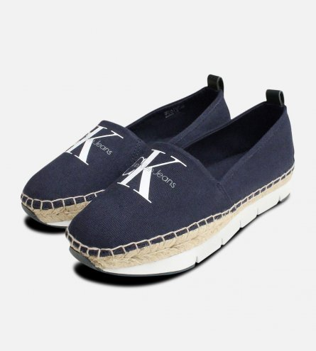 Calvin Klein Ladies Shoes Genna Espadrilles in Navy Blue