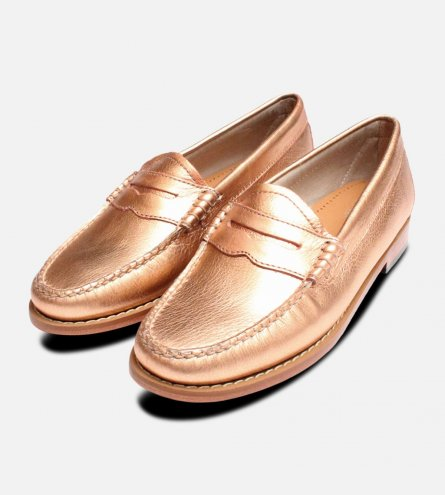 Rose Gold Bass Weejuns Penny Loafer Ladies Shoes