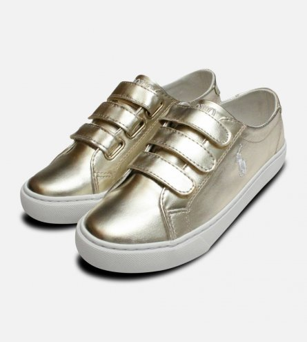 Gold Ralph Lauren Polo Slater EZ Childrens Shoes