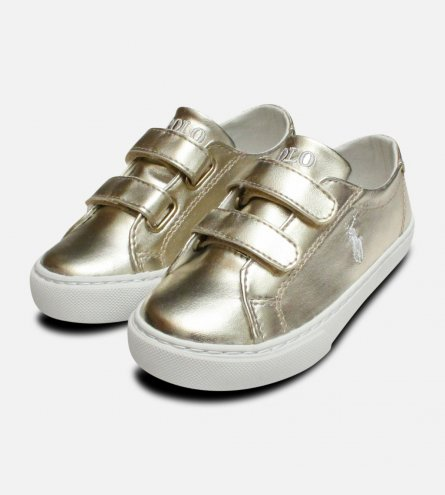 Gold Ralph Lauren Polo Kids Slater Velcro Shoes