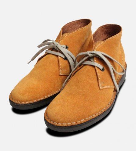 Wheat Yellow Suede Ladies Italian Desert Boots