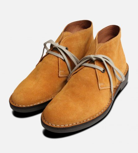 Wheat Yellow Suede Mens Italian Desert Boots