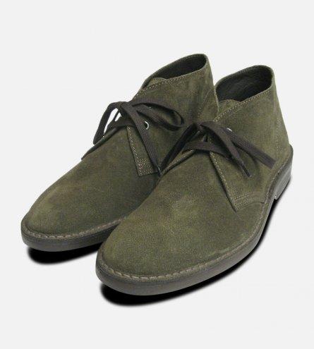 Original Mens Desert Boots in Forest Green Suede