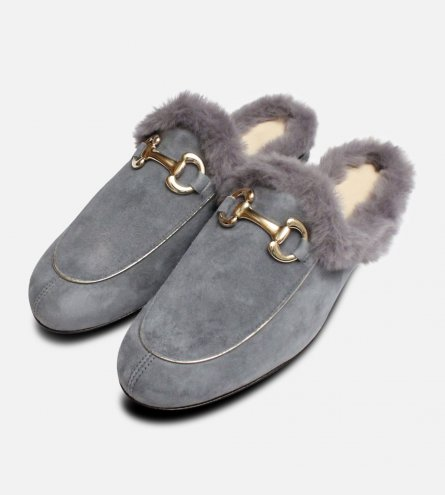 Grey Velvety Fur Slides by Arthur Knight Shoes