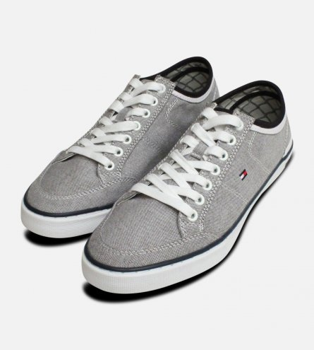 Tommy Hilfiger Grey Lace Up Harrington Sneakers for Men