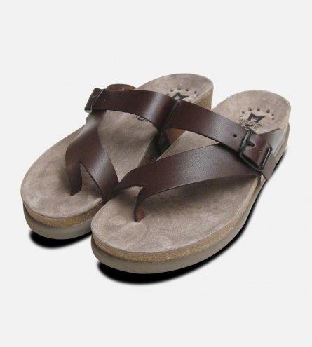 Helen Chestnut Brown Calf Leather Sandals Mephisto Shoes