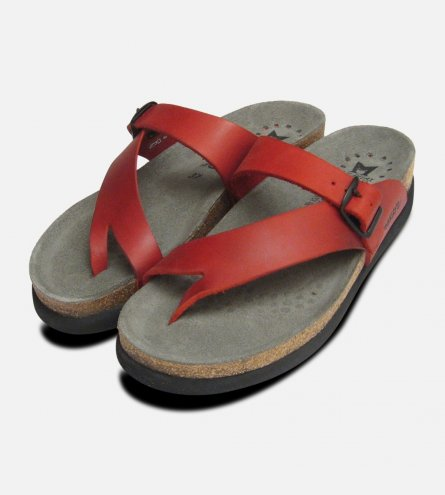 Helen Toe Post Red Nubuck Ladies Mephisto Sandals