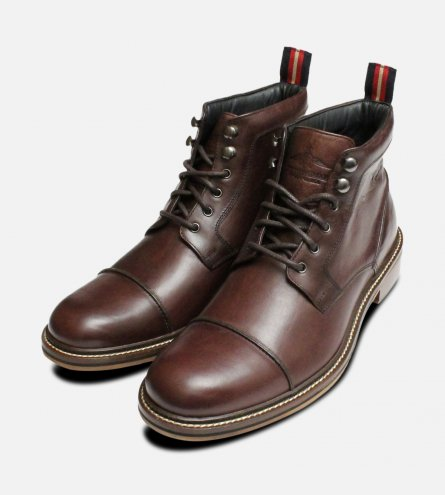 Military Style Thomas Partridge Mens Boots in Brown