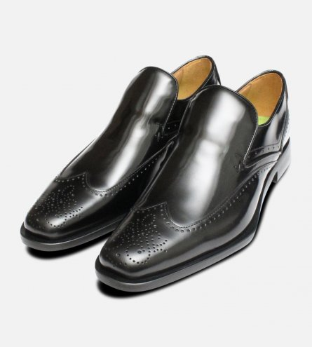 Oliver Sweeney Shoes Black Polished Brogue Loafers