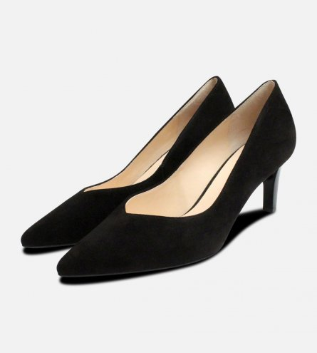 Hogl Black Suede Pointed Toe Ladies Heeled Shoes