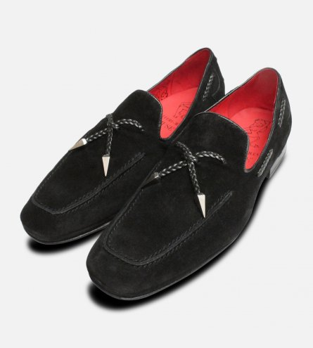 Jeffery West Black Suede Silver Tassel Loafer Shoes