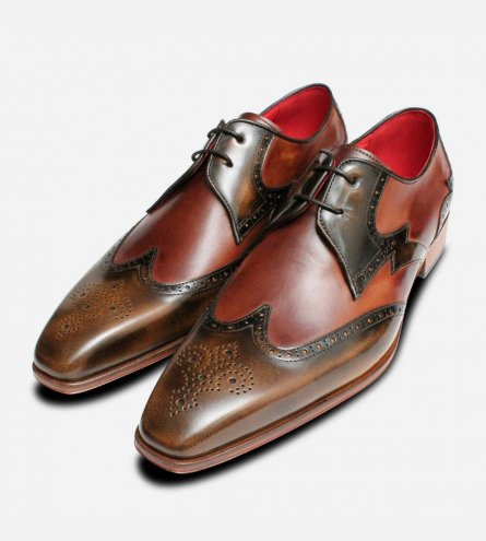 Jeffery West Mens Muse Brogues in Chestnut Brown