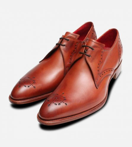 Jeffery West English Brogues in Rosewood Leather