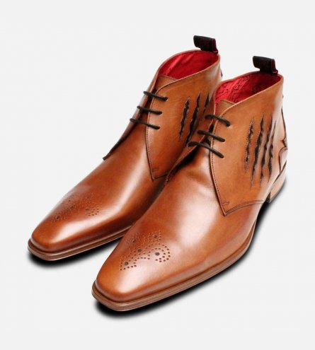 Slash Jeffery West Brogue Chukka Boots in Tan