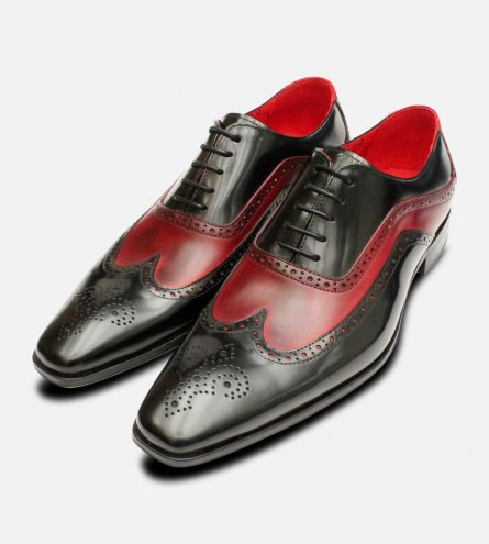 Black & Burgundy Oxford Brogues by Jeffery West